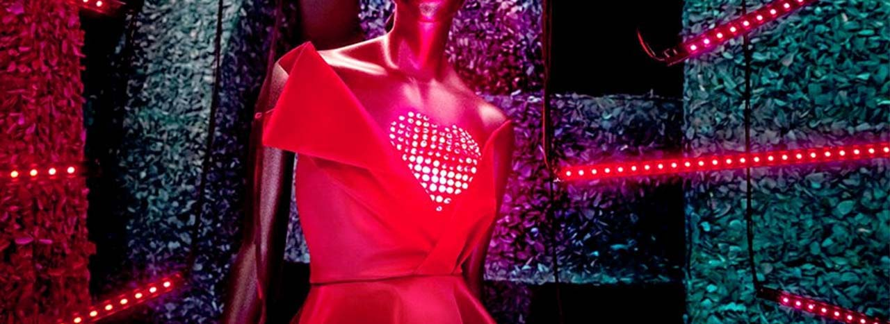 Close-up image of the LED heart, designed and installed by Prop Studios exclusively for H&M