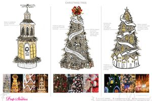 Prop Studios' initial design sketches and inspirations for the giant Christmas tree displays to be constructed within the Hyundai department store