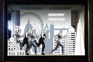 Full view of Lululemon's main flagship window design, created exclusively by Prop Studios