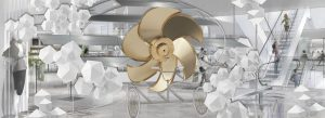 Prop Studios' award-winning retail design scheme for Hyundai Department Store included a rose-gold flying propeller