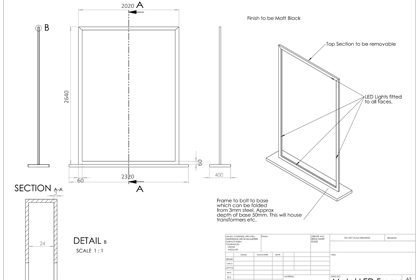 An additional technical drawing of the dimensions of the Jo Malone window