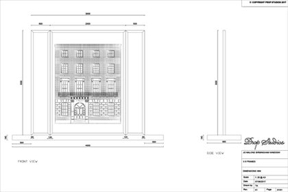 A technical sketch of the Jo Malone window, with townhouse design