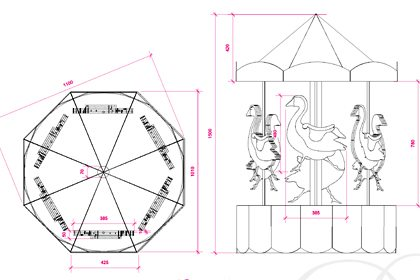 Technical drawing showing the dimensions of one of the sculptures designed by Prop Studios for Liberty's Christmas window scheme