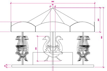 Prop Studios' original technical drawing, outlining the dimensions for the six geese a-laying carousel for Liberty's Christmas windows