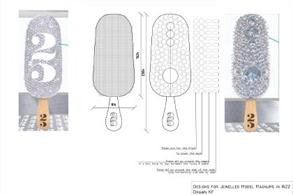 Prop Studios' initial technical sketch for one of the Make My Magnum windows