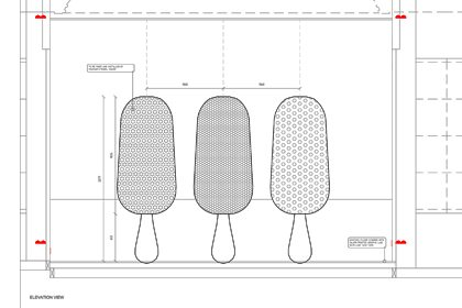 Technical blueprint for the Selfridges window containing three silver Magnums