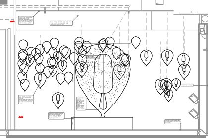 Technical sketch showcasing Prop Studios' original for the golden Magnum encased in a clear balloon