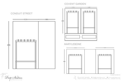 Blueprints of the various Oliver Sweeney windows for which Prop Studios created designs