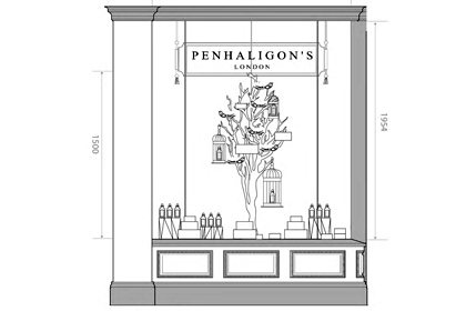 Technical drawing to show another Penhaligon's window, with Prop Studios' sculpture in prominent position