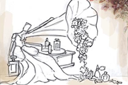 Prop Studios' original sketch depicting the concept of the flowers emerging from the gramophone, which would later be made into a sculpture for Al Rubaiyat