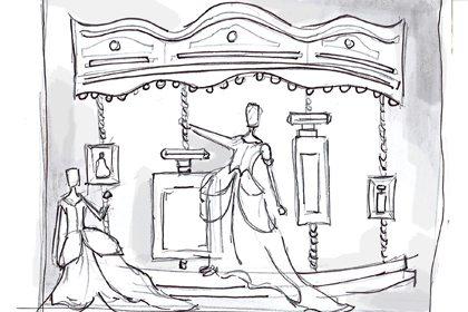 Prop Studios' original sketch showing the concept for the Al Rubaiyat carousel