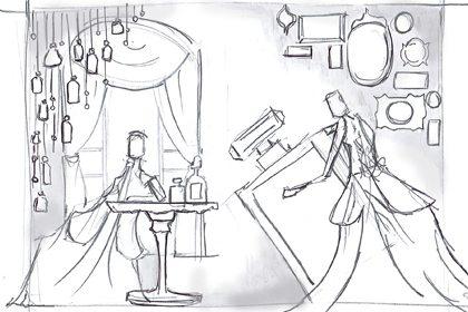 Prop Studios' original sketch depicting the giant tilting perfume bottle, later created as part of the window design for Al Rubaiyat