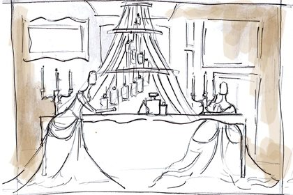 Prop Studios' original sketch to show the concept for one of the four windows designed exclusively for Al Rubaiyat