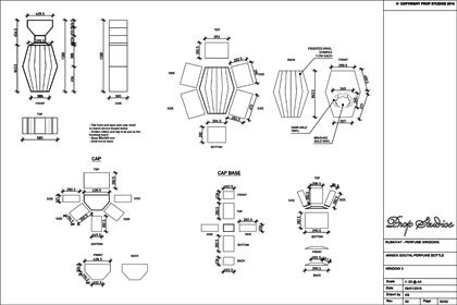 Technical drawing showing the construction of the light fittings within one of the Al Rubaiyat windows designed by Prop Studios