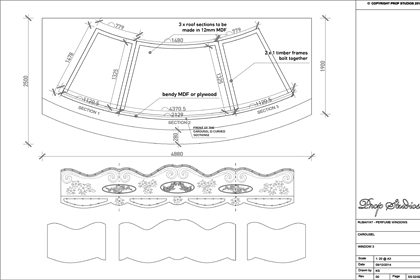 Prop Studios' original technical drawing, showing how the giant carousel in the Al Rubaiyat window would be designed and constructed