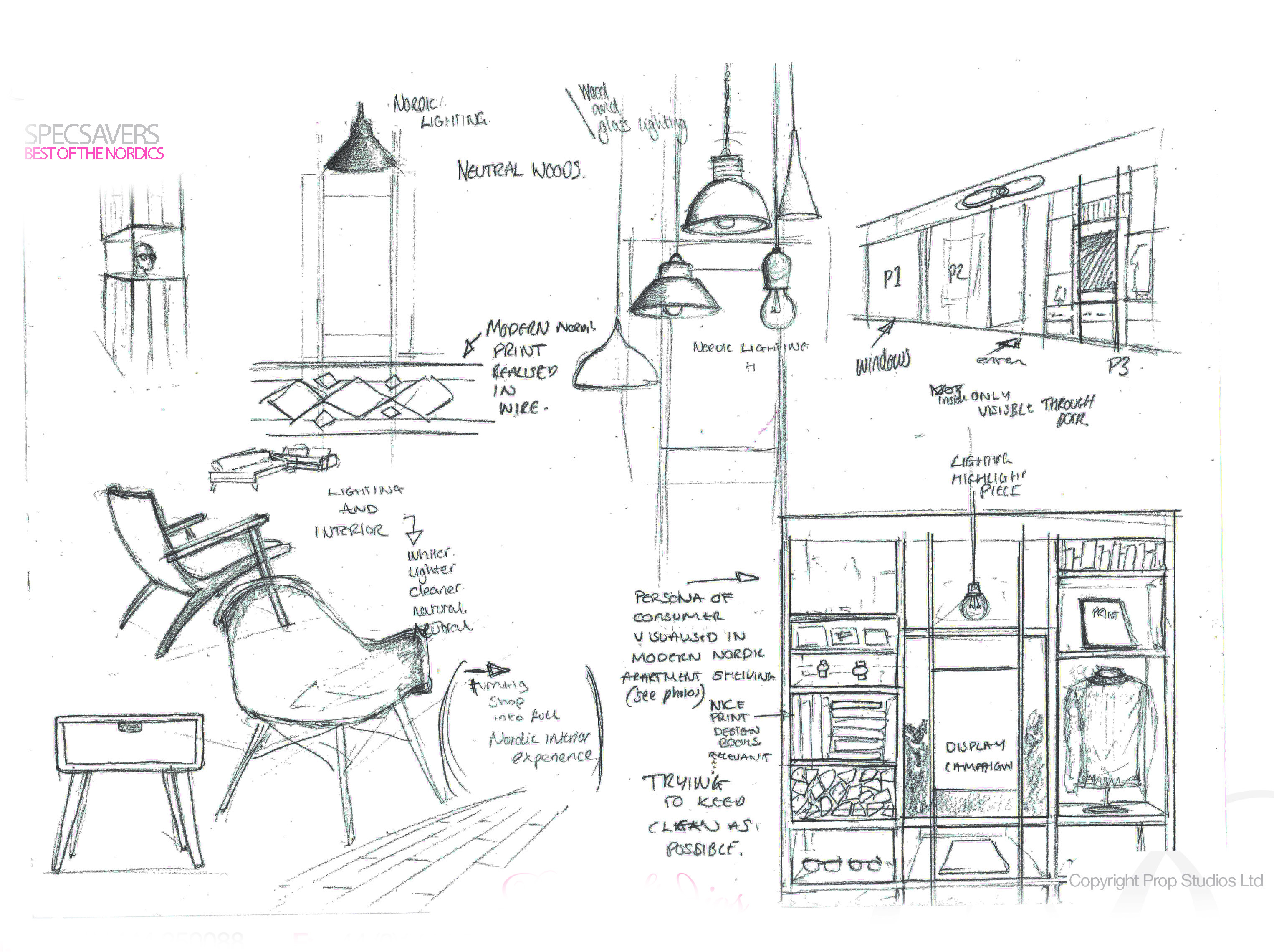Original Prop Studios design sketch showing initial ideas for the Specsavers window display