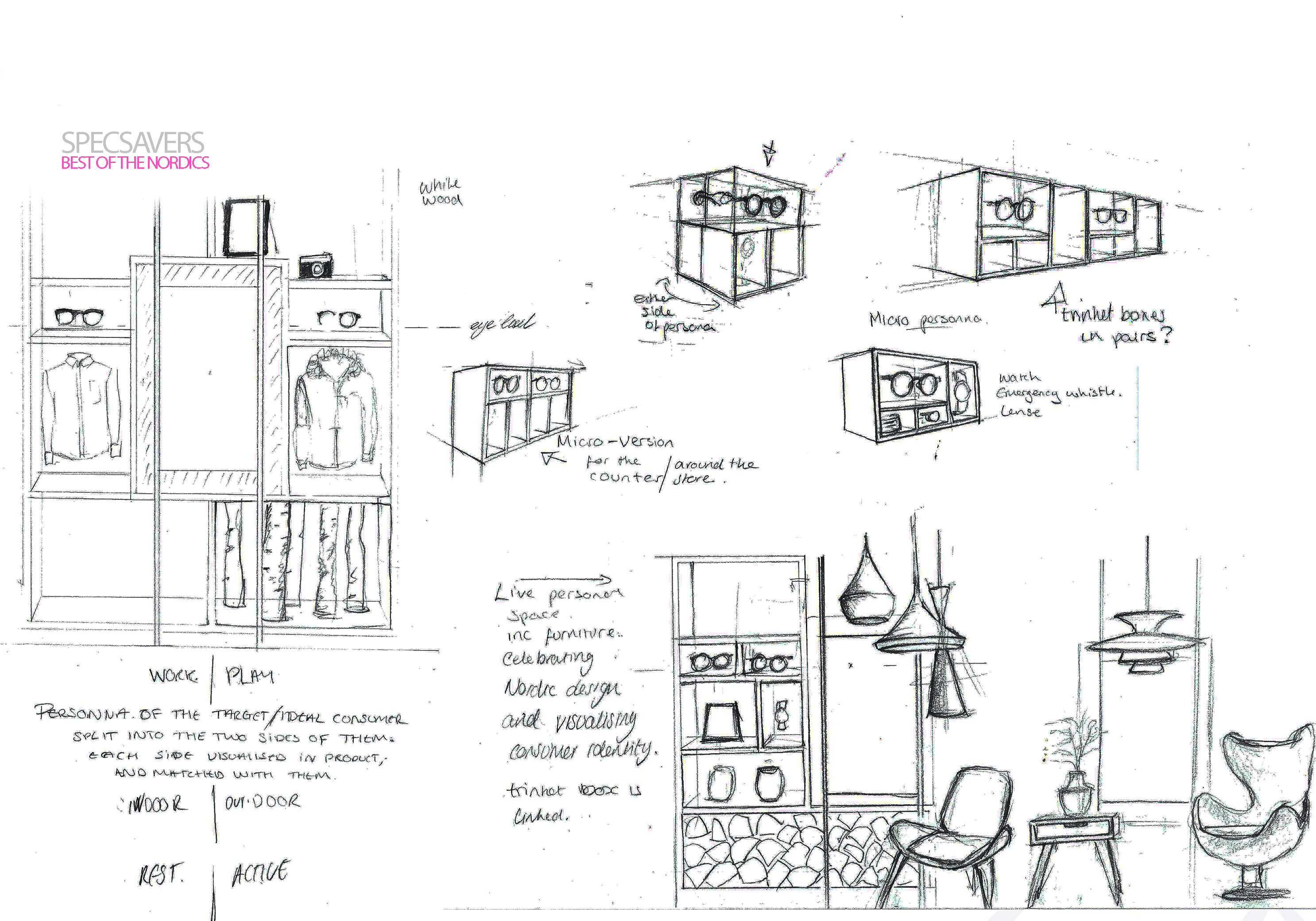 Prop Studios draft sketch showing the initial concepts for the Specsavers shelves