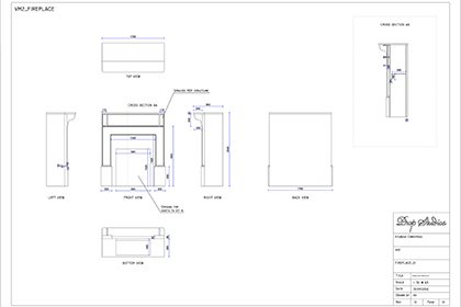 Blueprint showing the dimensions and construction of Prop Studios' fireplace installation