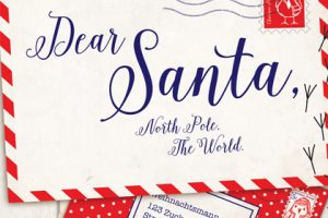 Close-up image of the oversized letter to Santa, prominently displayed within the Hyundai store
