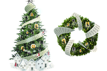 Prop Studios' 3D computer renders of the giant Christmas tree and wreath, prominently displayed within the Hyundai store