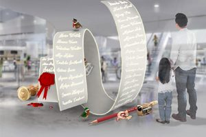 3D render of an oversized installation of Santa's list of names, created exclusively for Hyundai by Prop Studios