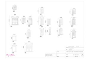 Technical diagram showing the variety of windows created for Mulberry's dollhouses by Prop Studios