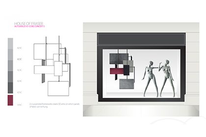 Prop Studios' initial design sketch for House Of Fraser window display