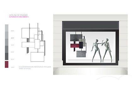 Prop Studios' initial design sketch for House Of Fraser window display