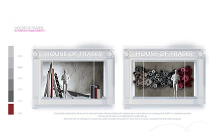 Technical drawing showcasing the colour scheme for two of our windows within the House Of Fraser display