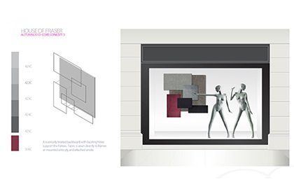 Prop Studios' original technical sketch showing the backdrop for one of the windows in the House Of Fraser scheme