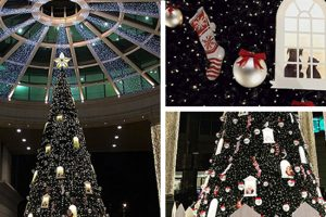 Prop Studios created a number of installations including a giant Christmas tree as the centrepiece of the display within the Hyundai store