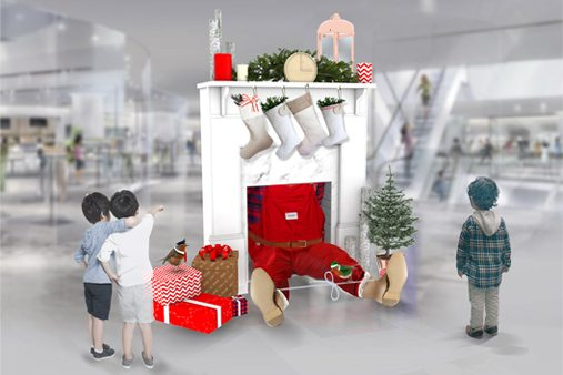 Taking Santa's workshop as inspiration, Prop Studios developed scenes of festive disorder to be displayed within the Hyundai department store