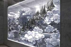 Close-up of window scheme designed for Hyundai by Prop Studios, depicting a series of silver ships