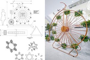 Technical drawing showing how the ferris wheel/penny farthing hybrid installation would be designed