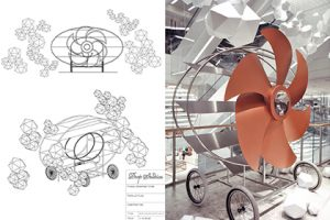 Prop Studios' initial design sketches for the flying propeller, and the finished product