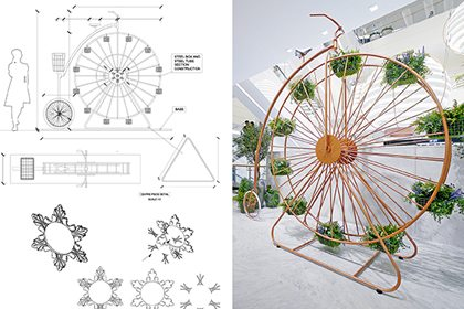 Prop Studios' original design outline for instore penny farthing decoration, one of the many items created exclusively for Hyundai