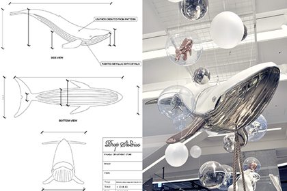 Prop Studios' original retail design sketch showing the construction of our floating leather whale sculpture