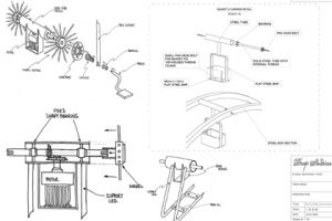 Original technical sketches designed by Prop Studios to show the construction of some of the instore sculptures created for Hyundai