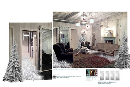 Design concept showing the snow-filled room created for the Jack Wills Christmas instore scheme