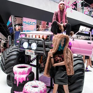 Prop Studios' award-winning visual merchandising display for Missguided's flagship store at Westfield shopping centre