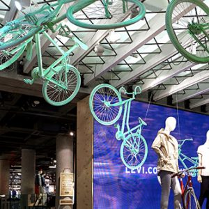 Prop Studios' unique visual merchandising campaign for Levi's prominently featured a bike installation at the entrance of the store
