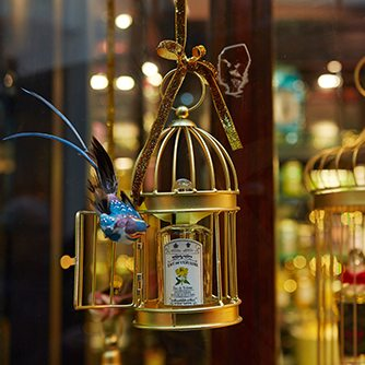 Close-up image of one of the bird cages designed by Prop Studios for Penhaligon's Christmas window scheme