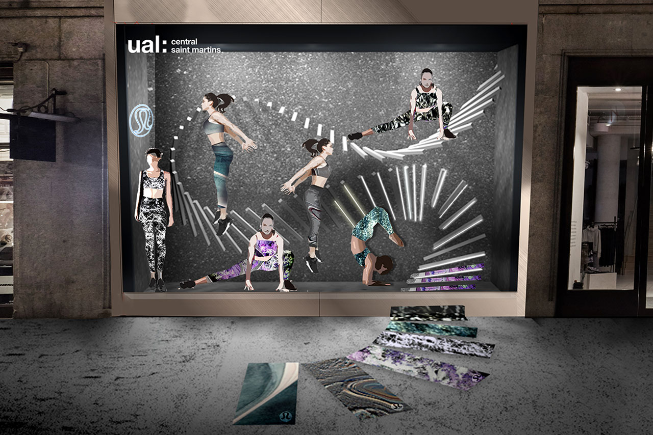 Exterior shot of the Lululemon window display, designed exclusively by Prop Studios