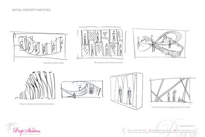 Prop Studios' original concept sketches for the Lululemon window display