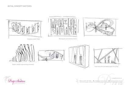 Prop Studios' original concept sketches for the Lululemon window display