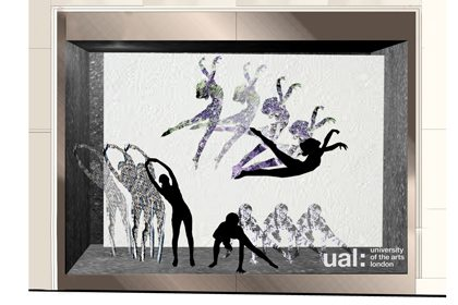 Prop Studios' initial concept design sketch for one of the four Lululemon window designs