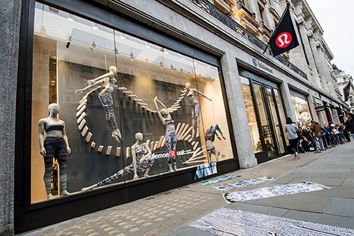A view of the Lululemon window display from Regents Street