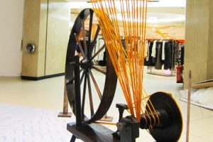 The wool started at one end of the Mary Portas store, extending all the way through the entire length of the floor