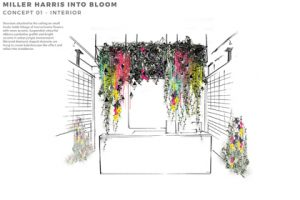Prop Studios' concept design sketch for the interior view of the Miller Harris window