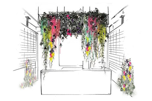 Prop Studios designed a reflective wall for the MIller Harris store, which provided a kaleidoscope visual merchandising opportunity, complete with hanging neon florals throughout the store